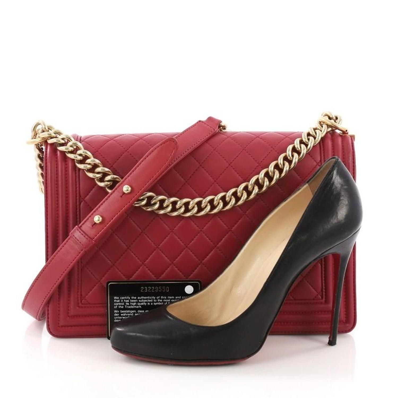 b09a1a0cc0d0 Chanel Boy Flap Bag Quilted Lambskin New Medium at 1stdibs