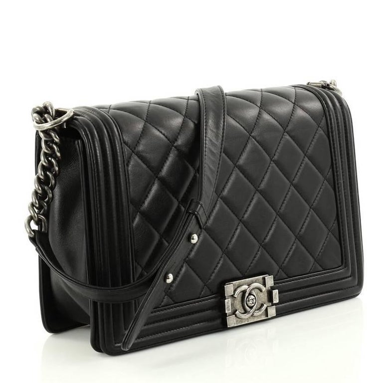 c0965c4e9dfd Black Chanel Boy Quilted Lambskin New Medium Flap Bag For Sale