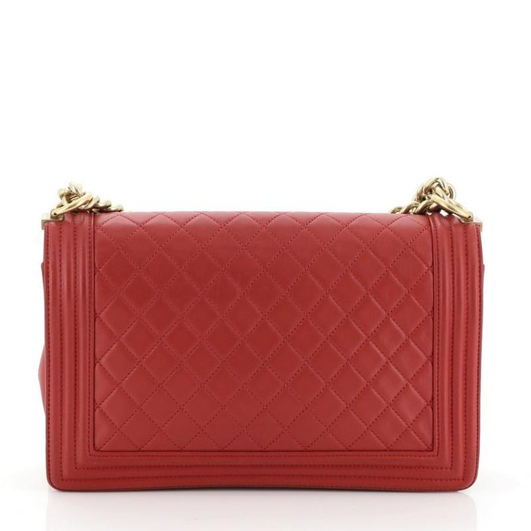 Red Chanel Boy Flap Bag Quilted Lambskin New Medium For Sale