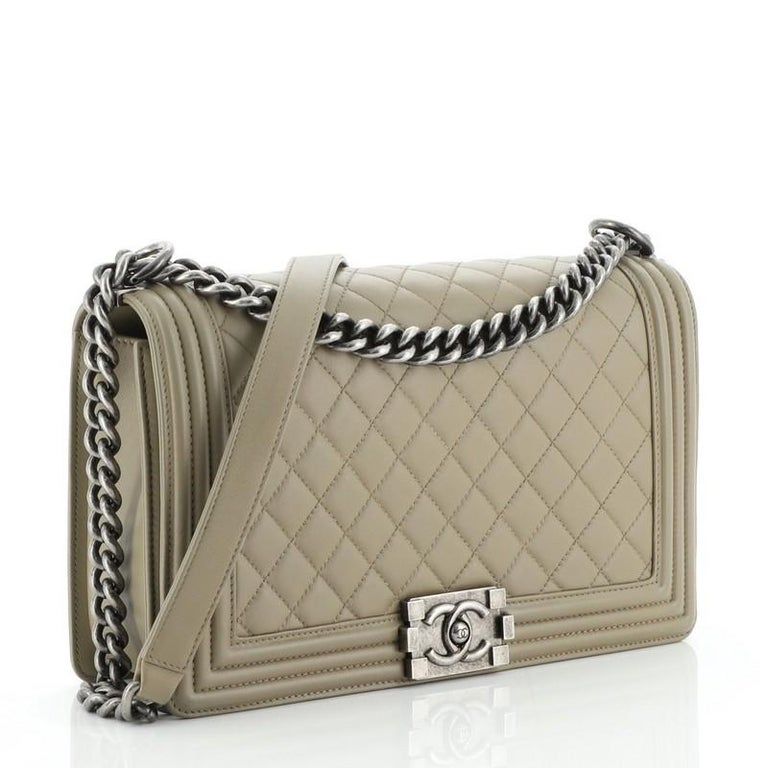 Brown Chanel  Boy Flap Bag Quilted Lambskin New Medium For Sale