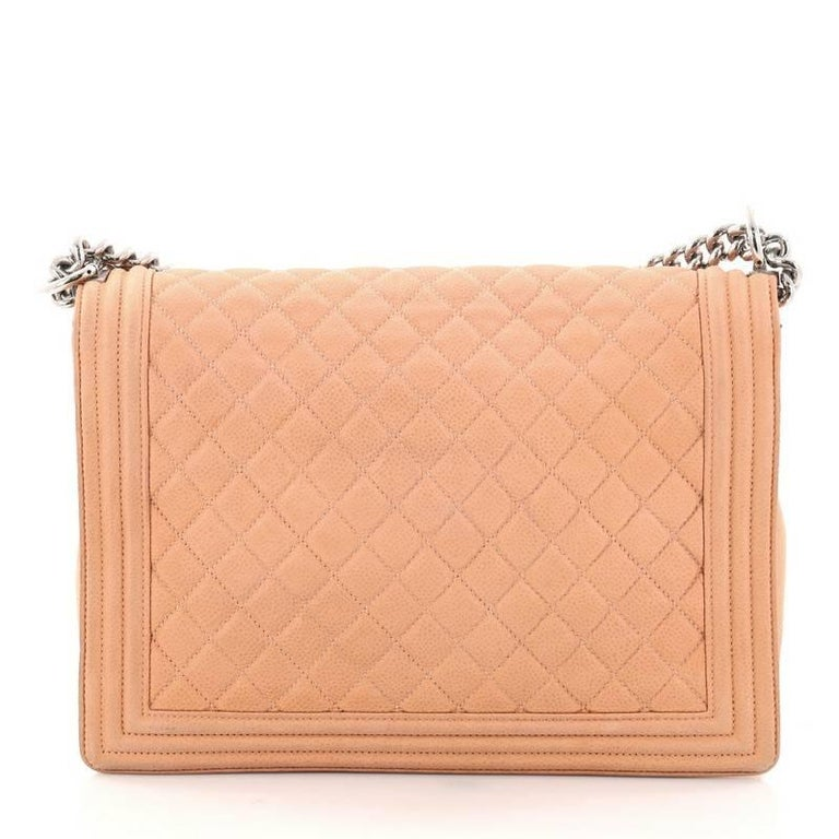 e33ed82474e2e7 Chanel Boy Flap Bag Quilted Matte Caviar Large In Good Condition For Sale  In New York