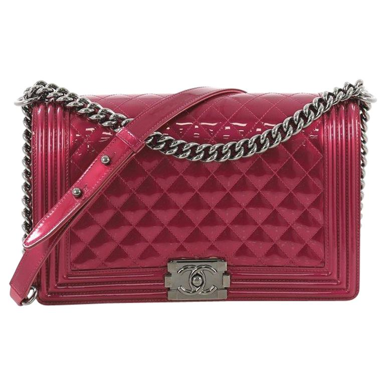 d2ead5ec664708 Chanel Boy Flap Bag Quilted Patent New Medium For Sale at 1stdibs