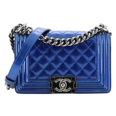 Chanel Boy Flap Bag Quilted Patent Small