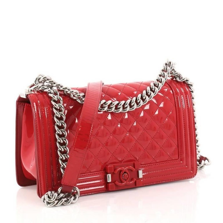 64800334aa4b Red Chanel Boy Flap Bag Quilted Plexiglass Patent Old Medium For Sale