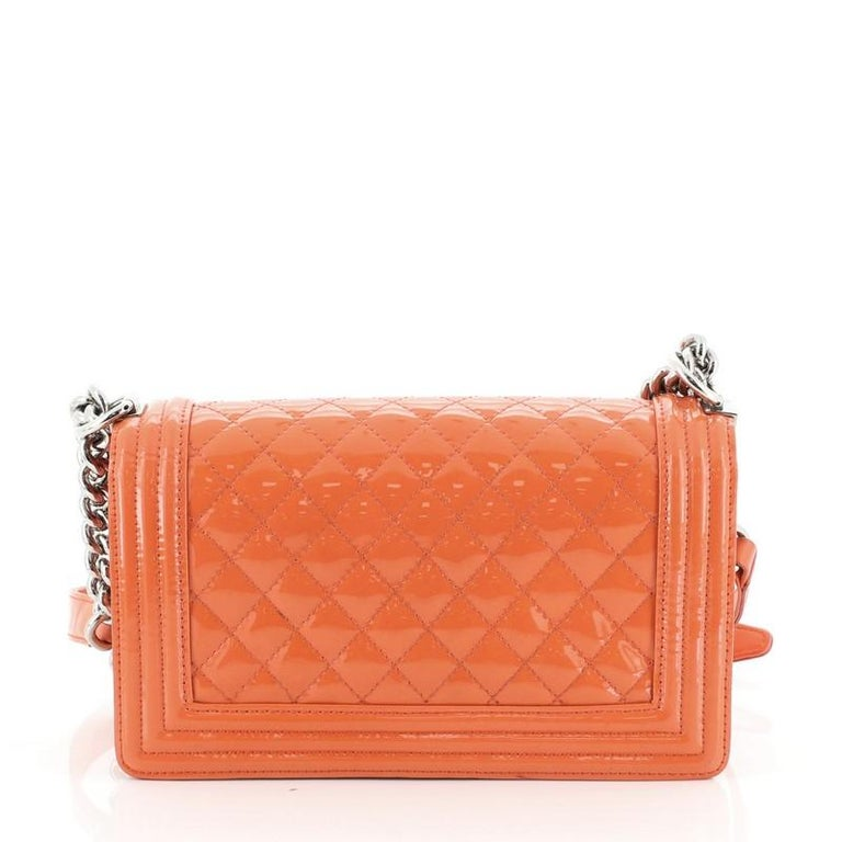 Orange Chanel Boy Flap Bag Quilted Plexiglass Patent Old Medium For Sale