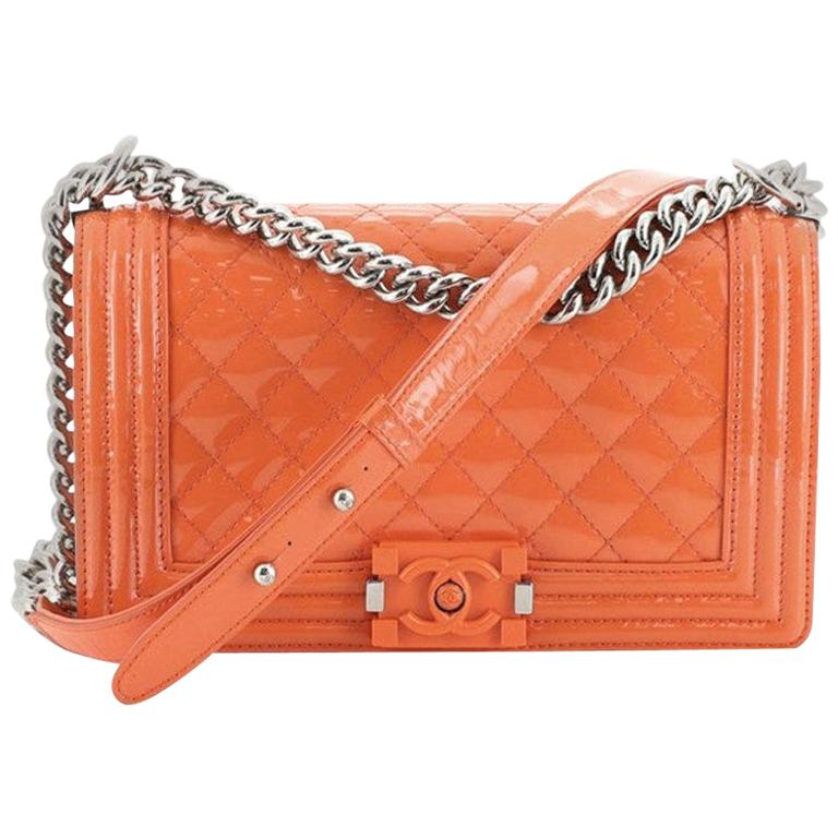 Chanel Boy Flap Bag Quilted Plexiglass Patent Old Medium For Sale