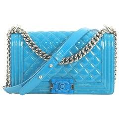 Chanel Boy Flap Bag Quilted Plexiglass Patent Old Medium