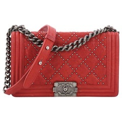Chanel Boy Flap Bag Quilted Studded Distressed Calfskin Old Medium