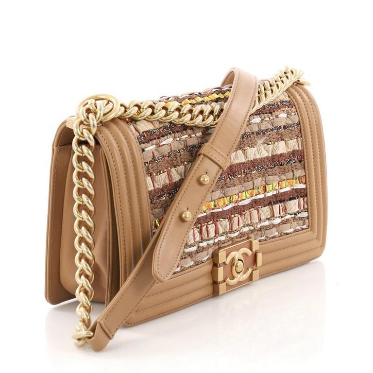 78ee0b91e0a4 Brown Chanel Boy Flap Bag Quilted Tweed and Ribbon Old Medium For Sale