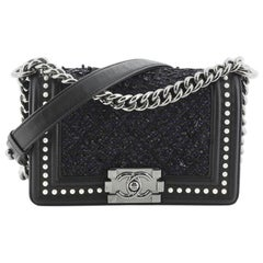 Chanel Boy Flap Bag Quilted Tweed with Pearl Embellished Calfskin Small