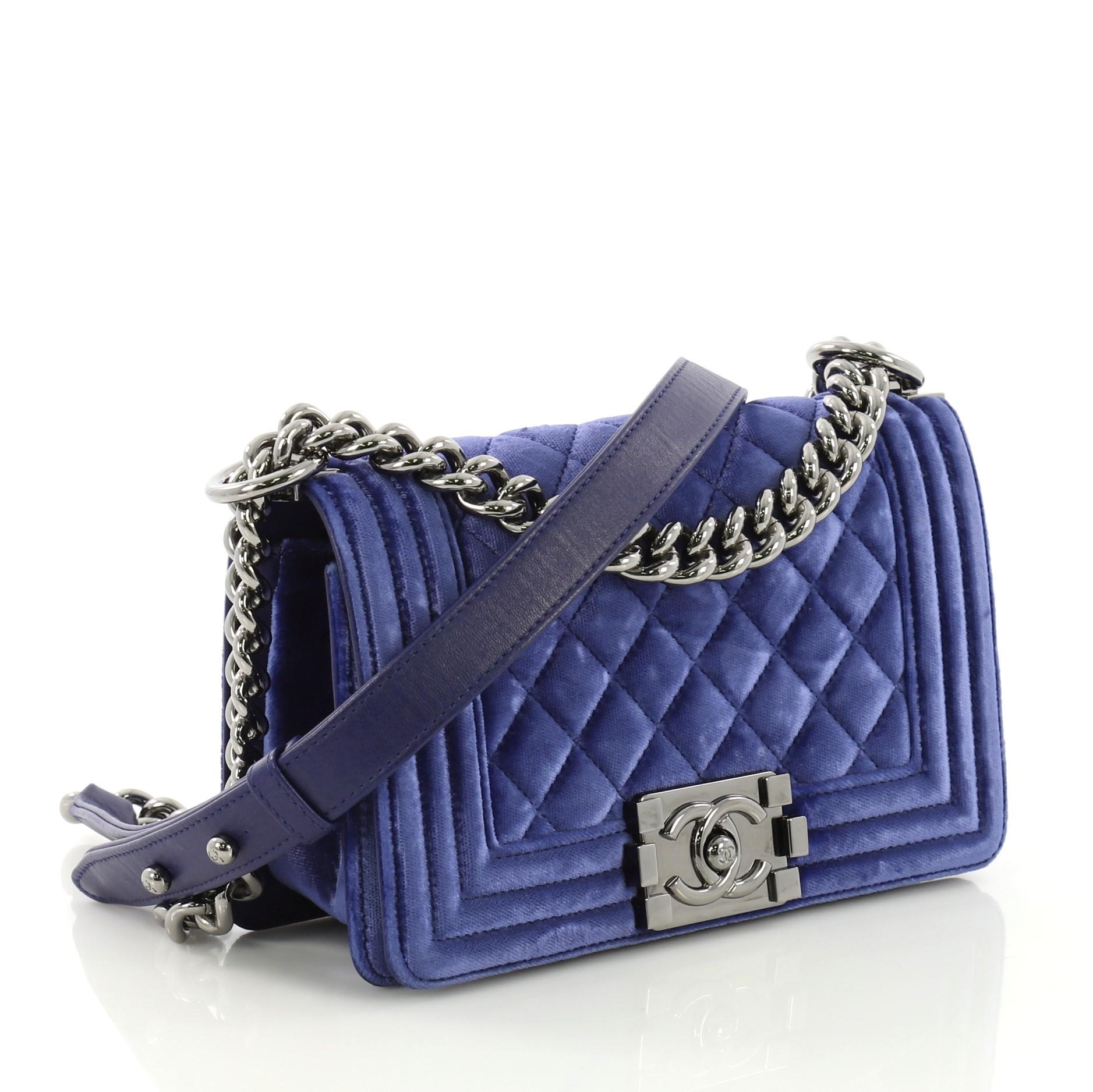 968c0ad26b2431 Chanel Boy Flap Bag Quilted Velvet Small at 1stdibs