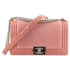 Chanel Boy Flap Bag Shearling with Leather Old Medium