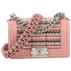 Chanel Boy Flap Bag Woven PVC with Lambskin Small