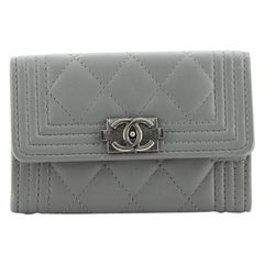 Chanel Boy Flap Card Case Quilted Lambskin