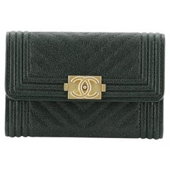 Chanel Boy Flap Card Holder Chevron Caviar