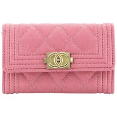 Chanel Boy Flap Card Holder Quilted Caviar