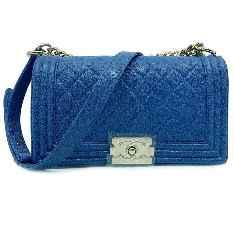 f3e39e72f0 Chanel Boy Gold Tone Chain leather Blue Shoulder Ladies Bag