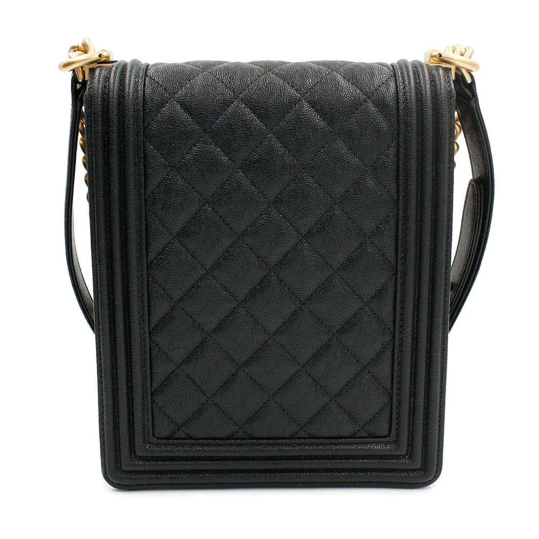 002d321a4ae6 Chanel Boy Handbag Grained Calfskin Gold Tone Black Leather Flap Bag