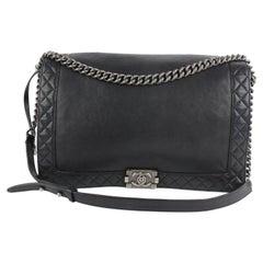 Chanel Boy Large Reverso Quilted 18cz1023 Black Leather Shoulder Bag