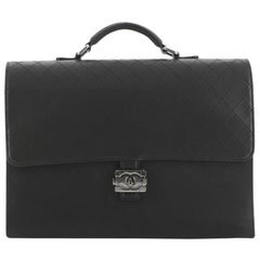 Chanel Boy Lock Flap Briefcase Quilted Caviar Large