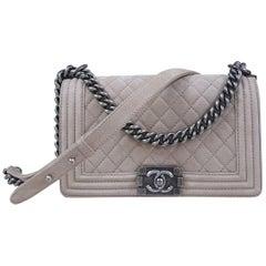 Chanel Boy Medium Beige Suede Caviar Leather Handbag