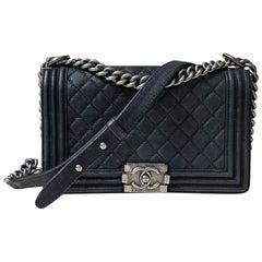 Chanel Boy Medium Black Suede Caviar Leather Handbag