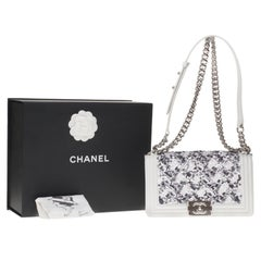 Chanel boy medium size shoulder bag in white and grey sequins, silver hardware