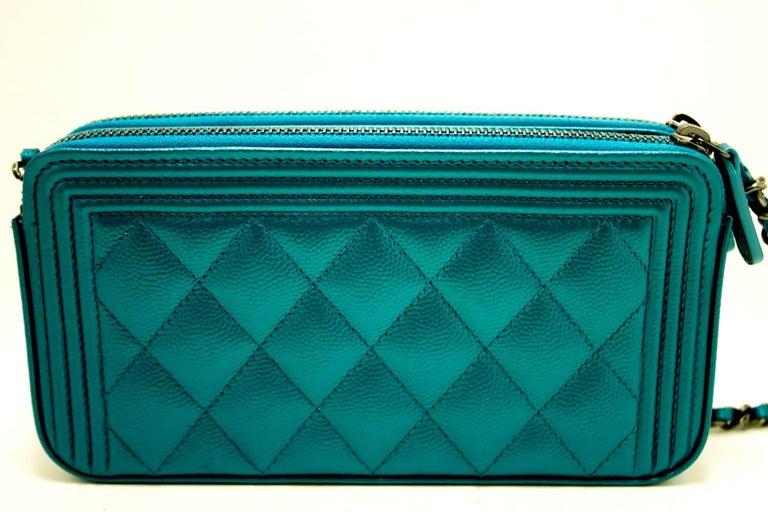 f298dda977aa Chanel Boy Metallic Blue Caviar Wallet On Chain WOC Clutch Bag In New  Condition For Sale
