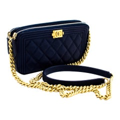 CHANEL Boy Navy Caviar WOC Wallet On Chain Double Zip Shoulder Bag Leather