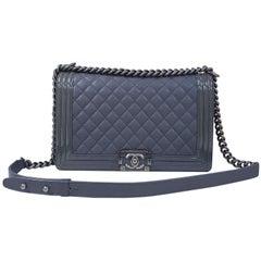 Chanel Boy New Medium Grey Leather Patent Leather