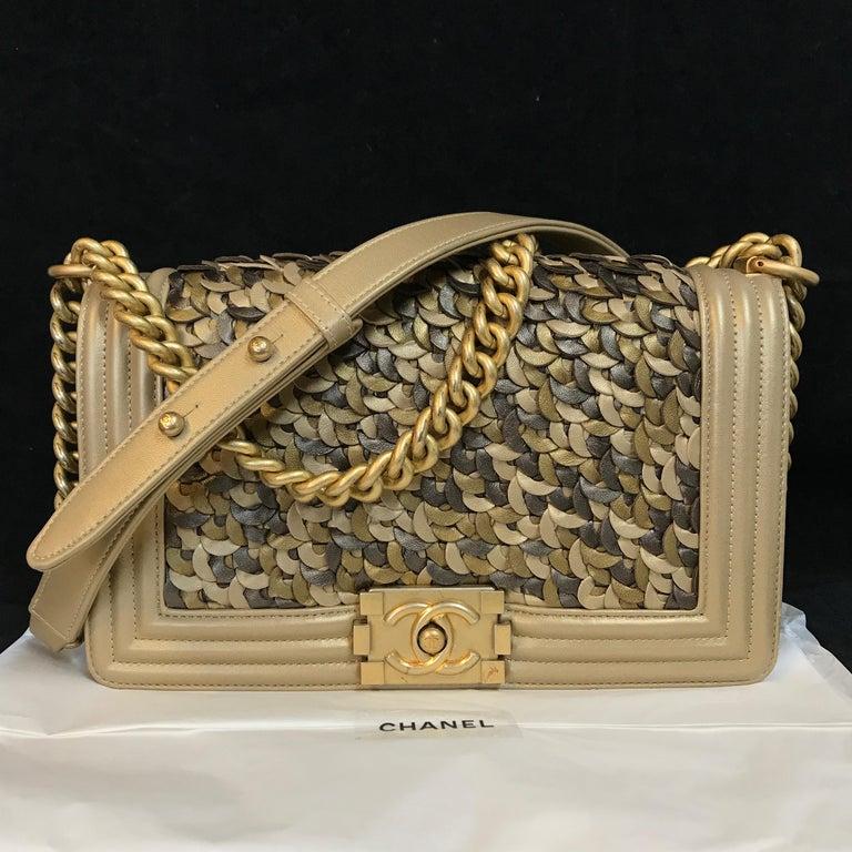 c48fe6cad4edae Brown CHANEL Boy New Medium shoulder bag Limited Edition gold lambskin &  antique gold For Sale