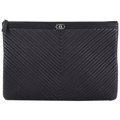 Chanel Boy O Case Clutch Chevron Quilted Lambskin Large