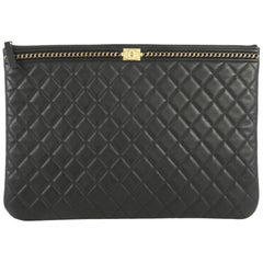 Chanel Boy O Case Clutch Quilted Lambskin with Chain Detail Large