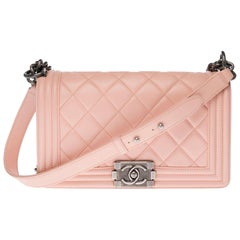 Chanel Boy Old medium shoulder bag in pink quilted leather with silver hardware