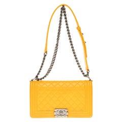 Chanel Boy Old medium(25cm) handbag in Yellow quilted  leather, SHW !