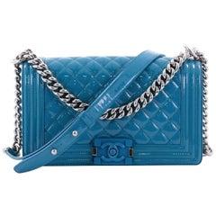 Chanel Boy Plexiglass 1cr0604 Aqua Blue Quilted Patent Leather Cross Body Bag