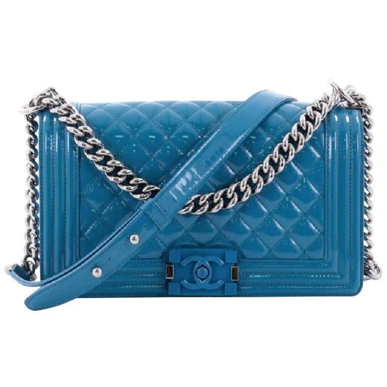 f568bc856ce8 Chanel Boy Plexiglass 1cr0604 Aqua Blue Quilted Patent Leather Cross Body  Bag For Sale