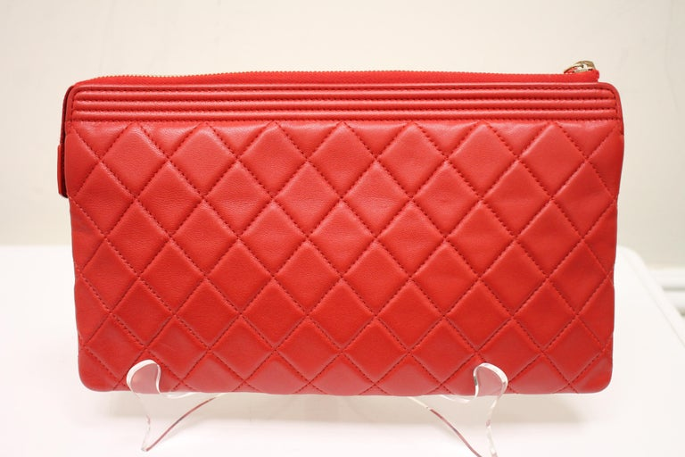 Chanel Boy Quilted Calfskin Clutch For Sale 1