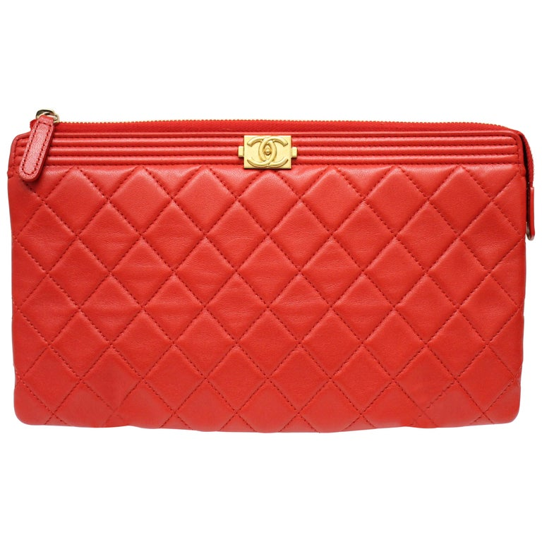 Chanel Boy Quilted Calfskin Clutch For Sale