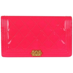 Chanel Boy Quilted Patent Leather Long Flap Wallet
