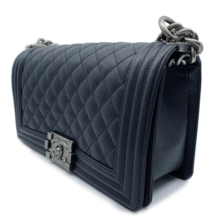 7fd373d078a52d Chanel Boy Ruthenium Finish Medium Black Quilted Leather Bag A67086 Y83338  94305 For Sale. 5.75 inch 2.75 inch 9.75 inch Strap: 20.5 inch New Without  tags.