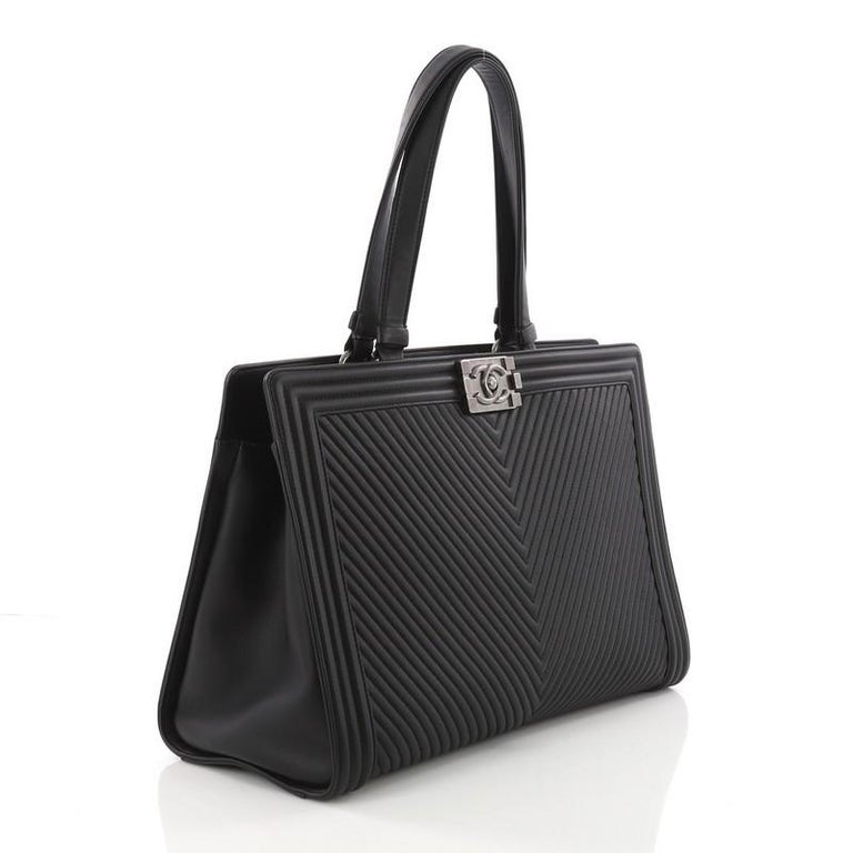 Black Chanel Boy Shopping Tote Chevron Quilted Calfskin Large For Sale 84232213021f5