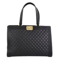 Chanel Boy Shopping Tote Quilted Lambskin Large