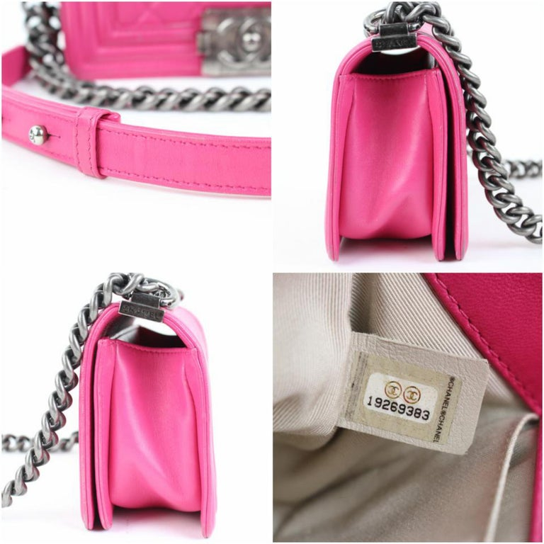 0b337c24a9c5 Chanel Boy Small Lambskin Le 9617ct13 Hot Pink Leather Shoulder Bag For  Sale 6