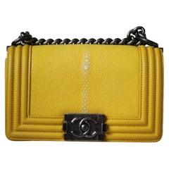 Chanel Boy Small Yellow Shagreen Flap Bag