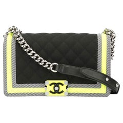 Chanel Boy Soldout Spring 2016 Fluo Medium Rare Black Neon Lime Nylon Flap Bag