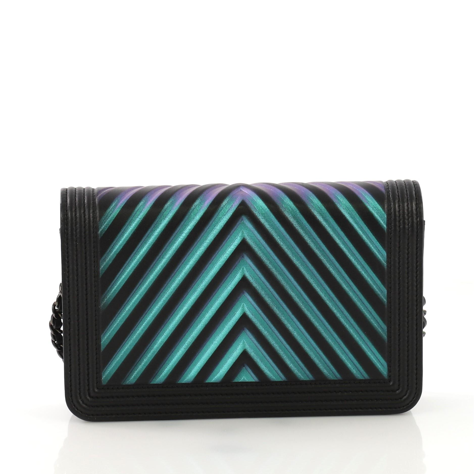 51712928f38e8f Chanel Boy Wallet on Chain Chevron Painted Calfskin For Sale at 1stdibs