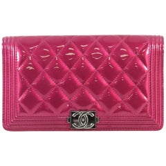 Chanel Boy Yen Wallet Quilted Patent