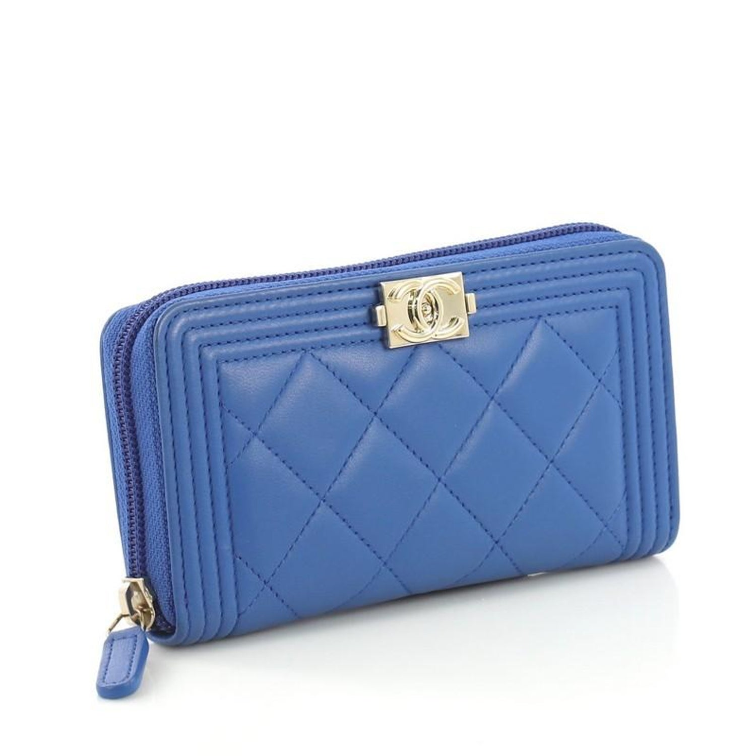a454d3efb90e7d Chanel Boy Zip Around Wallet Quilted Lambskin Long For Sale at 1stdibs