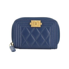 Chanel  Boy Zip Coin Purse Quilted Lambskin Small